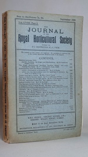 The Journal of the Royal Horticultural Society Vol. LVIII Part 2. September 1933