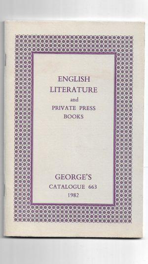 English Literature and Private Press Books: George's Catalogue 663