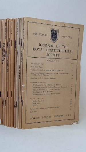 Journal of the Royal Horticultural Society Vol. LXXVIII Part One to Twelve 1953 plus Extracts from the Proceedings Part One and Two