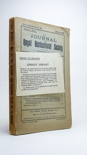 The Journal of the Royal Horticultural Society Vol. LV Part 1. January 1930